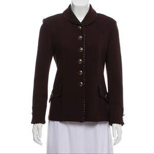 ST. JOHN Peter Pan Collar Button-Up Jacket Blazer